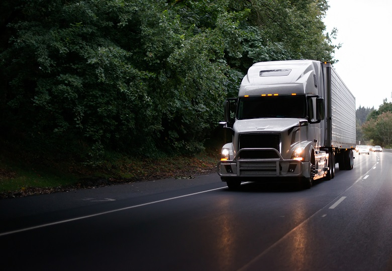 Volvo truck traveling in the evening